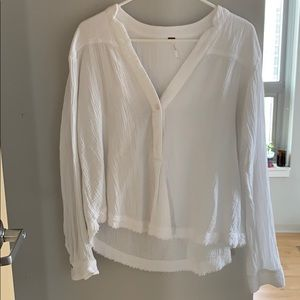 Free People White Button Shirt